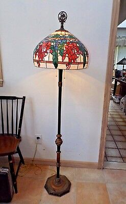 Antique 1900 Art Nouveau Wooden Floor Lamp w/Vintage Stained Glass Shade Exc.