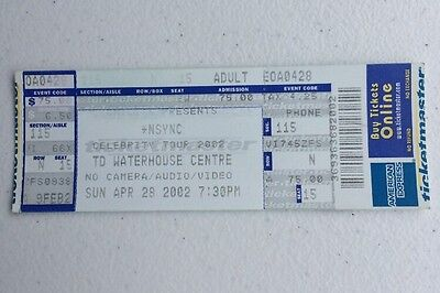 2002 Nsync Celebrity Tour Orlando, Florida Concert Ticket Stub Timberlake Diddy