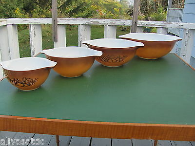 Nest of 4 Harvest Brown Pyrex Mixing Bowls Unused