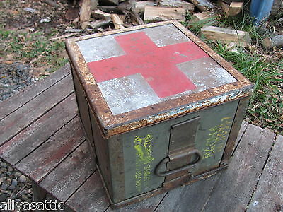 US Military Cannon Ammo Box to MASH Med BOX Red Cross WWII