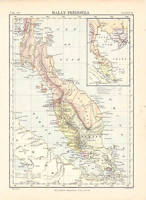 Malay Peninsula. Encyclopaedia Britannica Map. 1877.