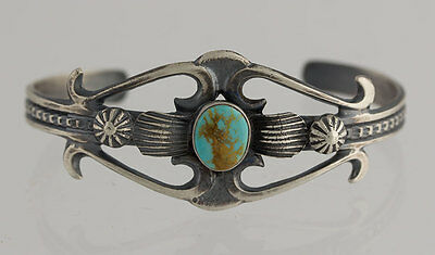 Navajo Native American Sterling Silver Cast Cuff Turquoise Bracelet