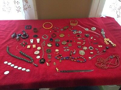 HUGE Antique Jewelry Lot Brooches Necklaces Lockets Etc 70 Pcs