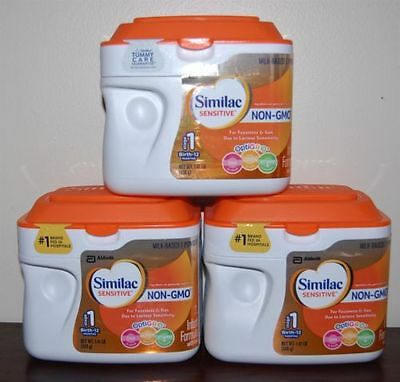 NEW 3 PACK SIMILAC SENSITIVE NON-GMO STAGE 1 INFANT BABY FORMULA 22.5Oz 1.41LB