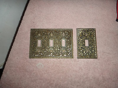 Vintage Light Switch Covers Filigree Triple Toggle and Single Toggle