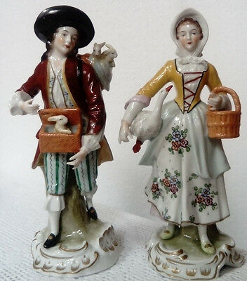 Antique Sitzendorf Dresden, Pair Of Figurines, Market Day Hunter Gatherer C1920