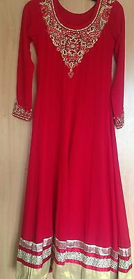 Girls Red And Gold Anarkali Dress. Size 30. Age 9/10