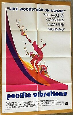 1971 Original PACIFIC VIBRATIONS 1-sheet Movie Poster SURFING 27X41 AIP CREAM