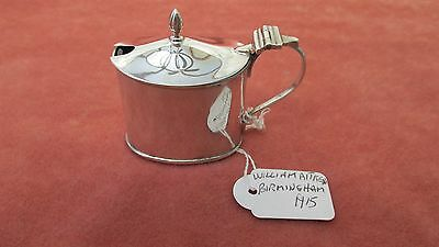 A Superb Solid Silver George V Oval Mustard Pot Assay Hallmarked Birmingham 1915
