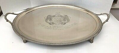 1806 STERLING SILVER ENGLISH TWO-HANDELED FOOTED TRAY 112 oZ TROY   MAGNIFICENT