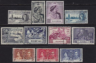 GAMBIA. KGVI 1948 set and early commemoratives, mint and used.