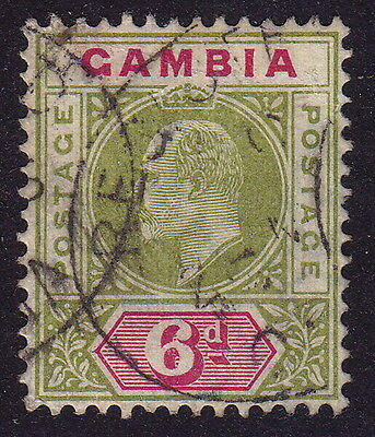 GAMBIA. KEVII 1904-06 6d olive-green and carmine, used.