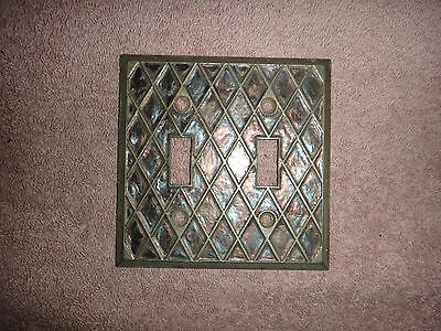 Vintage 1960's Opalescent Light Switch Cover Plate Diamond Lattice Double Toggle
