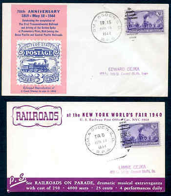 Usa Railroad Train Cachet Covers 1944