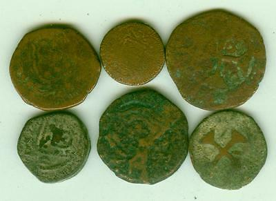 6 Portuguese India Copper Coins-Lot E1