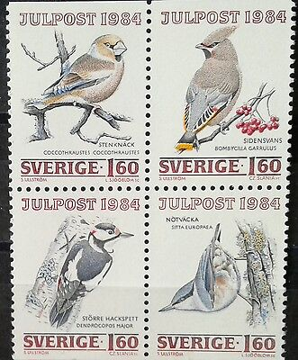 Topical  birds in block of 4  postage stamps  *MNH*      Sweden  1984