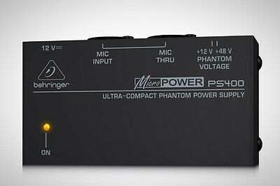 Behringer PS400 Micropower Phantom Power Supply Condenser Microphone Brand New