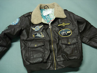 Boys Boeing Brown Faux Leather BOMBER Flyers Flight Jacket SMALL NICE !!