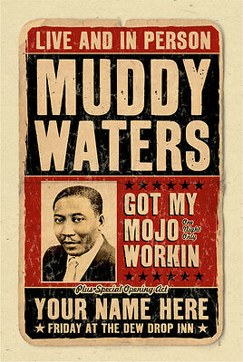 your name on a  MUDDY WATERS concert poster! - personalized gift!!! retro & cool