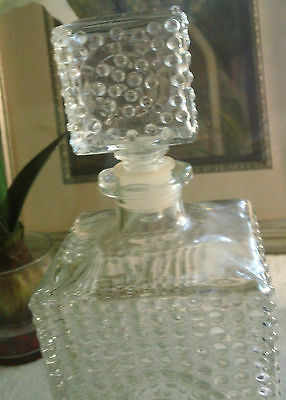 Clear Glass  Hobnail Decanter w/ Original Stopper