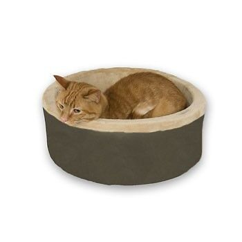 "Pet Bed for cats - K&H Thermo Heated Mocha Kitty Bed 20"" (50.8cm)"