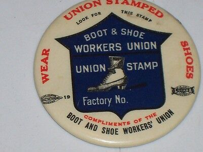 Vintage 1900-1910 Boot & Shoe Workers Union Advertising Pocket Mirror Nice! L@@k
