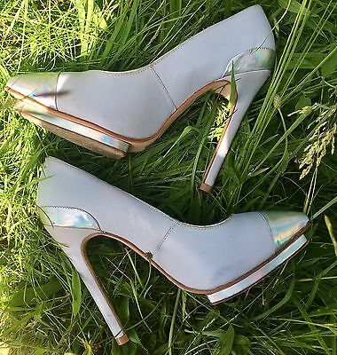 Topshop Platform Stilettos Heels Shoes Metallic Silver Grey Size Uk 3/36