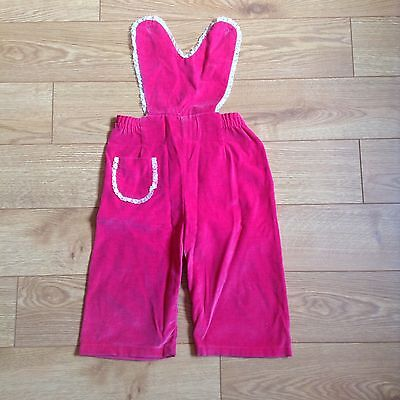 VINTAGE CHILDREN'S CLOTHING - Bright pink girl's jumpsuit with lace trim