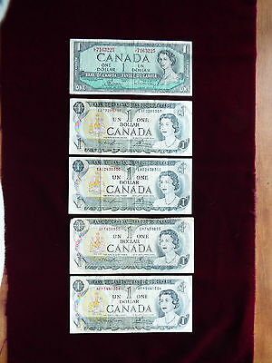 Lot of 5. $1 Bank Notes OF CANADA. Vintage Canadian Currency.