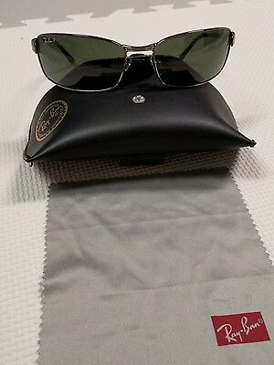Ray Ban Rb3269 Sleek Gunmetal Polarized Glass Lens Rectangular Flex Sunglasses