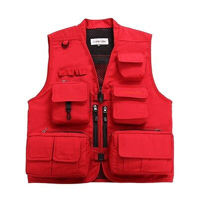 Outdoor Fishing Vest Mesh Breathable Multi-Pockets Travellers Photography Jacket