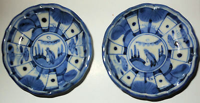 2 Antique Signed Hand Painted Japanese Kraak Style Blue & White Porcelain Dishes