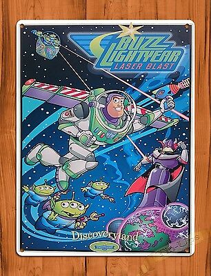 "TIN SIGN Walt Disney  ""Buzz Lightyear"" Discoveryland Toy Story Ride Poster"