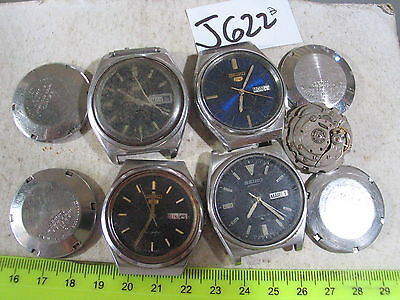 -  4pc Vintage SEIKO 5  Automatic Gents 6319 6119c 6309 Parts Watch AsIs