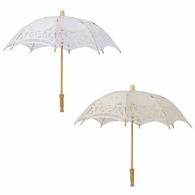 Chic White Kids Girls Lace Parasol Party Wedding Bridal Decoration Sun Umbrella