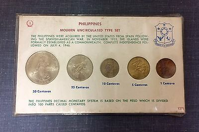 1964 Philippines Mint B.U. Unc Type Set (5) 1 -50 Centavos *Rare* LOT#G107