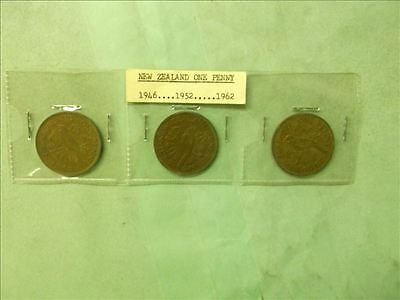 New Zealand Lot of 3 Era Penny coins
