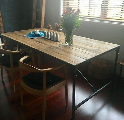 Industrial vintage wooden large dining table