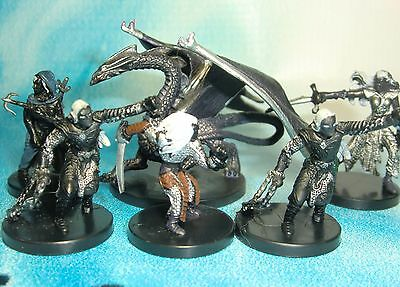 Dungeons & Dragons Miniatures Lot  Drow Fighter Drow Assassin Drow Dragon  s112