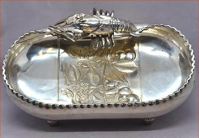 ANTIQUE SILVERPLATE FIGURAL LOBSTER  BOWL RARE EXAMPLE NICE by WILCOX #2352