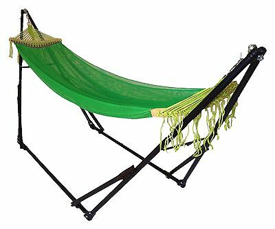 "102"" Double Hammock Green With Sturdy Space Saving Steel Stand + Portable Bag."