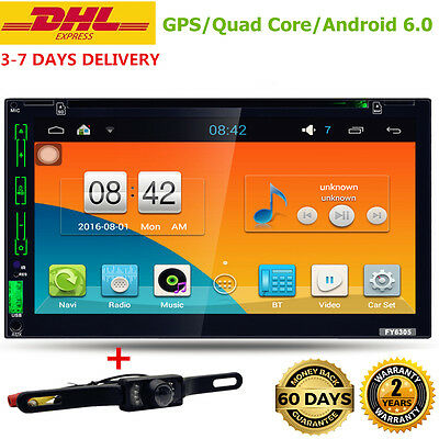 Quad Core 7'' inch Android 6.0 WiFi Double 2DIN Car DVD Player GPS+Camera abmer
