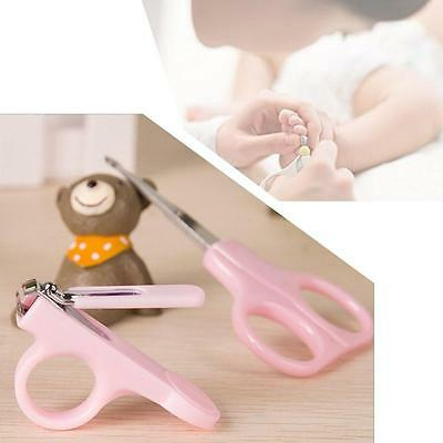 Safety Toddler Baby Nail Clippers Scissors Cutters Set Finger Manicure (Pink) E&