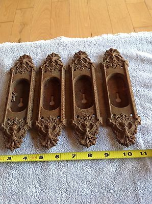 2 Vintage door plates key hole metal Cast Iron? hardware East lake Style Ornate