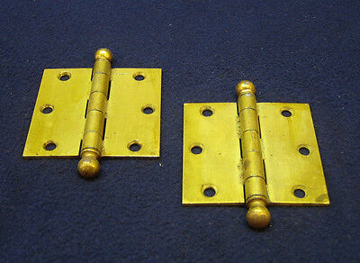 "Pair Antique Victorian Brass Plate 3"" x 3"" Ball Finial Tip Door Hinges - STANLEY"
