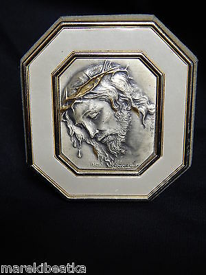 VTG ITALIAN  925 STERLING SILVER  REPOUSSE  jESUS  ART WITH FRAME , SIGNED