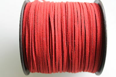 15 Meters Red Colour Suede Leather Cord