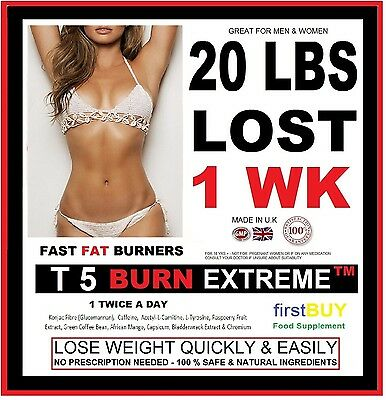 T5 BURN EXTREME WEIGHT LOSS PILLS FAT BURNERS STRONG DIET SLIMMING TABLETS Bid89