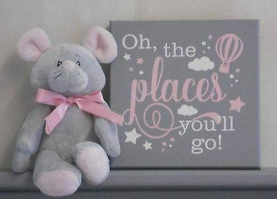 Oh the Places You'll Go - Sign Light Pink and Gray, Baby Girl Nursery Wall Art