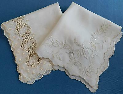 2 Gorgeous Antique Silk Wedding Handkerchiefs.  EXC Cond!   Hanky Vtg